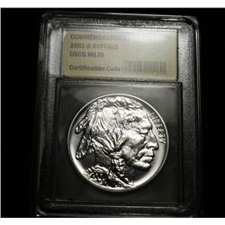 2001-d American Buffalo Uncirculated Silver Dollar Commemorative Graded ms70