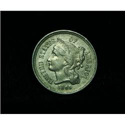 1865 3c Piece Grades Almost Uncirculated au50