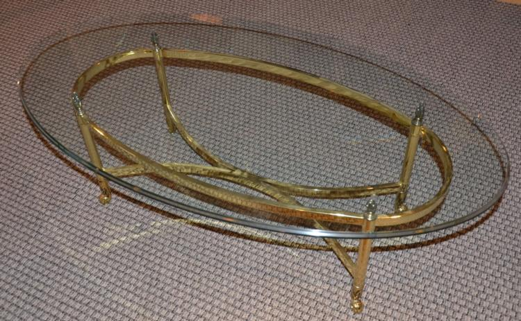 Brass U0026 Glass Top Oval Coffee Table 28 X 49 Inches. Loading Zoom