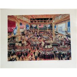 Kamil Kubik, Floor of the NYSE Signed Serigraph-Rare!