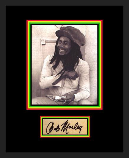 2681 - BOB MARLEY PHOTO & SIGNATURE DISPLAY - 9X11 - FRAMED