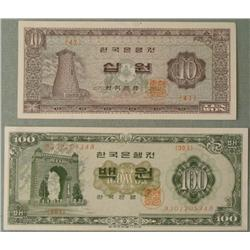 2 Bank of Korea Paper Money CU 10 & 100 Won 1965