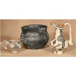 Three Pueblo Pottery Pieces, Circa 1890-1900