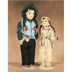 Two Plateau Dolls With Beadwork, Circa 1940s