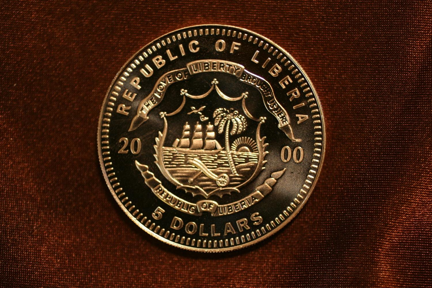 Image 2 2000 Orville Wilbur Wright Republic Of Liberia 5 Dollar Coin