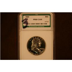 1960 Franklin Half Dollar - Slabbed graded PR 69