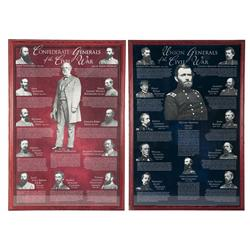 Two Framed Generals of the Civil War Prints