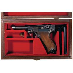 Commercial DWM Luger Semi Automatic Pistol with Case and Two Extra Magazines