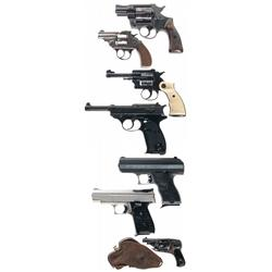 Three Pistols and Four Revolvers