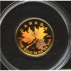 2001 1/4 Ounce Gold Maple Leaf Hologram Coin