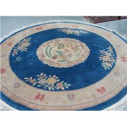 Blue oval Chinese handmade rug