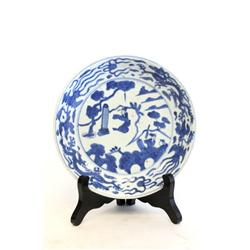 "Wanli blue & white porcelain dish of ""Figures"""