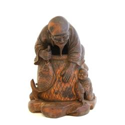 "19th c. carved bamboo ""Fisherman"""