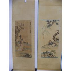 2 Chinese scrolls by Huang Jun & Ren Xiong