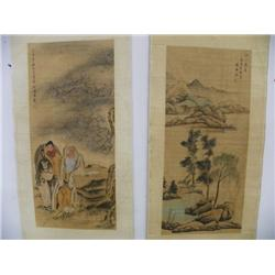 2 Chinese scrolls by Fu Ru & Liu Ling Chang