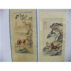 2 Chinese scrolls by Fu Zuo