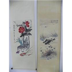 2 Chinese scrolls by Wang Xue Tao