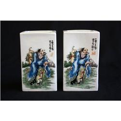 Pair Chinese Famille Verte brush pots