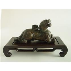 19th c. Chinese bronze dragon candleholder