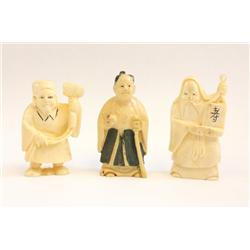 3 Ivory Netsuke minitaures of people