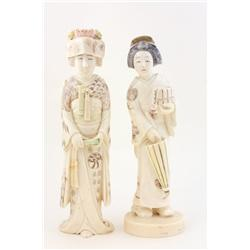 2 Japanese carved ivory figures of  Women