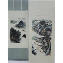 "2 Chinese scrolls of ""River Scenes"""