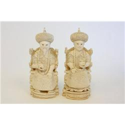 "Pair Chinese ivory figures ""King"" & ""Queen"""