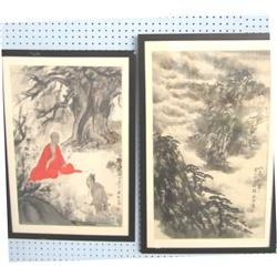 2 framed scroll paintings