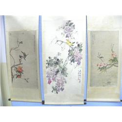 3 Chinese scrolls all signed