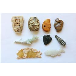 Lot 9 pieces ancient jade & stone pieces