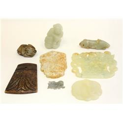 8 pieces jade & stone