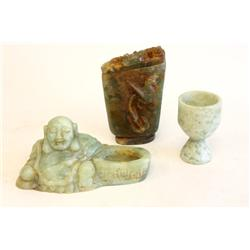 Group lot of 3 pieces jade