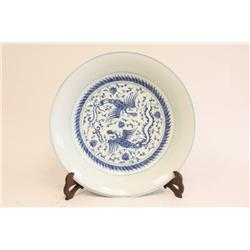"Blue & white plate of ""Double Phoenix"""