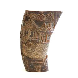 "Carved horn depicting ""Chinese Village"""