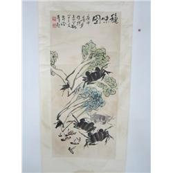 "Chinese scroll signed Li Kuo Chang ""Crabs"""