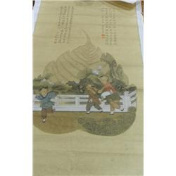 Chinese scroll of  3 Children Playing