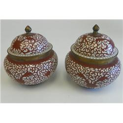 Pair red/white cloisonne covered ginger jars