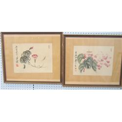 Pair Chinese watercolors artist signed