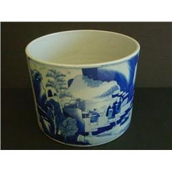 Blue & white porcelain brush pot with figures