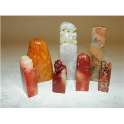 Set of 7 softstone seals tianhuang & chicken blood