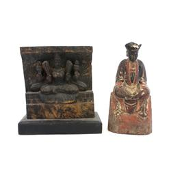 Lot of 2 carved wooden figures