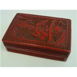 "Carved lacquer box & cover ""Landscape"""