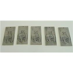 Silver plated square panels 5 pieces