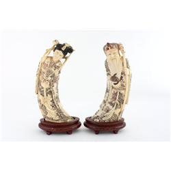 "Pair carved ivory figures ""Man"" & ""Woman"""