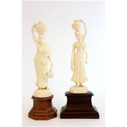"""2 ivory figures """"Women with Urns on Heads"""""""