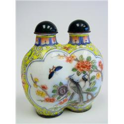Double enamel snuff bottle with Birds & Flowers