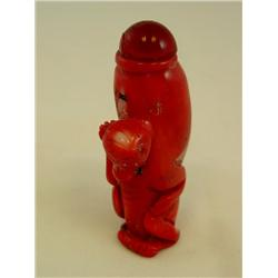 "Coral snuff bottle with ""Monkey"""