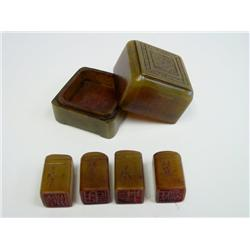 Soapstone carved case with 4 seals inside