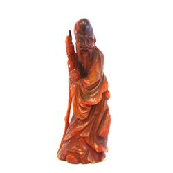 "Chinese carved horn figure of ""Man"""