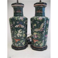Pair green floral Chinese vases